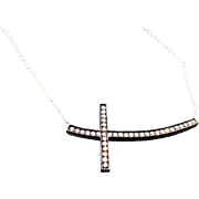 Sterling Silver .50 Carat Brown Diamond Sideways Cross Necklace
