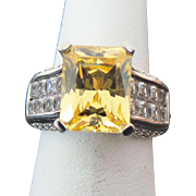 Sterling Silver 4.00 Carat Emerald Cut Faux Diamond Ring ~ Circa 1995