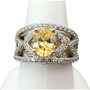 Vintage Sterling Silver 1.00 Carat Faux Yellow Diamond Ring