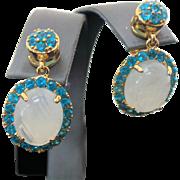 Vintage Sterling Silver/Vermeil Pierced Drop Moonstone & Neon Apatite Earrings