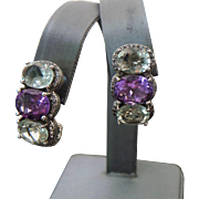 Vintage Sterling Silver Green & Purple Amethyst Pierced Earrings