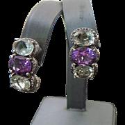 Vintage Sterling Silver Green & Purple Amethyst Pierced Earrings