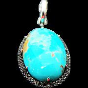 Sterling Silver Bisbee Turquoise & Brown Spinel Enhancer Pendant