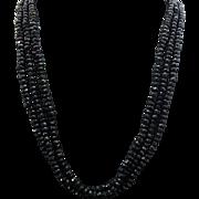 Triple Strand Black Spinel Magnetic Necklace