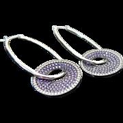 Sterling Silver Purple CZ & White Disc Oval Shape Hoop Earrings