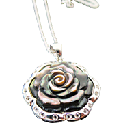 Sterling Silver Carved Mother Of Pearl & white Topaz Flower Necklace