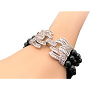 Triple Strand Onyx & Sterling Silver Simulated Diamond Decorative Clasp Bracelet