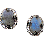 Sterling Silver Pierced Post Labradorite Earrings