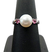 Sterling Silver 8 mm Pearl & Garnet Ring