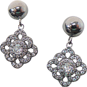 Sterling Silver Faux Diamond Pierced Drop earrings
