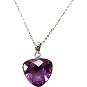Sterling Silver Trillion Cut Faceted Amethyst Necklace ~ 18""