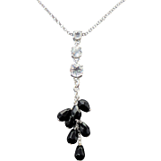 Sterling Silver Onyx & Faux Diamond lavalier Necklace