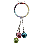 Sterling Silver Multi Colored Faux Sapphire Gemstone Necklace