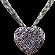 "Sterling Silver 5 Strand Tanzanite Heart Necklace 18"""