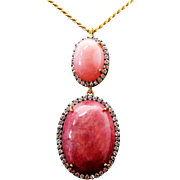 Sterling Silver/Vermeil Rhodochrosite/Pink Opal/White Topaz Necklace