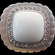 Gray Chalcedony, White Agate, White Topaz Ring