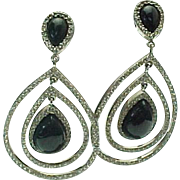 Vintage Sterling Silver Onyx & White Topaz Dangle Earrings