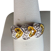 Sterling Silver Yellow & White Diamond Heart Ring