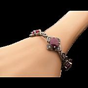 Vintage Sterling Silver 15.00 Carat Ruby & White Spinel Toggle Bracelet