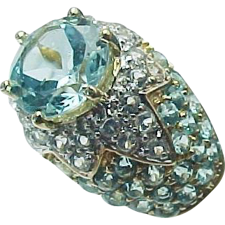 14k yellow gold 2 50 carat blue white topaz ring from