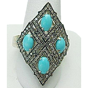 Sterling Silver Sleeping Beauty Turquoise & Diamond Elongated Ring