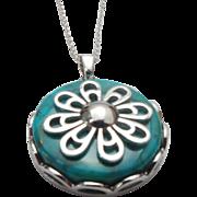 Sterling Silver Interchangable Gemstone Disc FLOWER Necklace