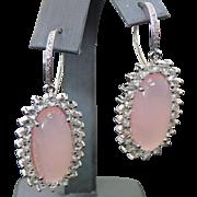 Vintage Sterling Silver Rose Quartz /White Topaz & Diamond Pierced Earrings