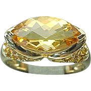 14K Yellow Gold 2.00 Carat Marquis Faceted Citrine Ring