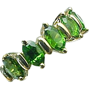 10K Yellow Gold 1.00 Carat Chrome Diopside 5 Stone Band
