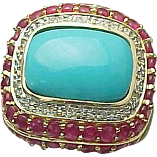 14K Yellow Gold Persian Turquoise, Ruby & Diamond Ring