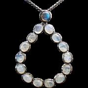 Sterling Silver Large labradorite / Moon Stone Pear Shape Pendant