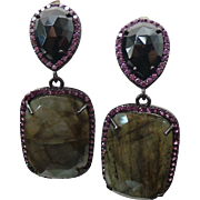 Stunning Pierced Post Dangle Labradorite & Rhodolite Garnet Earrings ~ Circa 1995