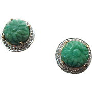 Sterling Silver /Vermeil Carved Jade & White Sapphire Pierced Post Earrings