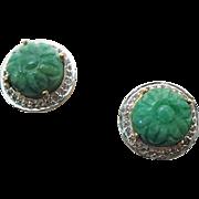 Sterling Silver /Vermeil Carved Jade & White Sapphire Pierced Post Earrings