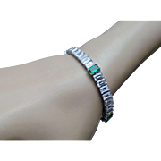 16.5 Carat Simulated Diamond & 4 Carat Simulated Emerald Tennis Bracelet