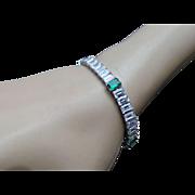 16.5 Carat Simulated Diamond & 4 Carat Simulated Emerald Tennis Bracelet
