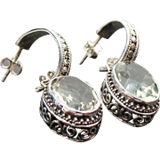 Sterling Silver Pierced Post Prasolite Drop Earrings