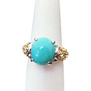 Sterling Silver/Gold Vermeil Persian Turquoise & White Topaz Ring