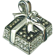 14K White Gold Chocolate & White Diamond Enameled Present Pendant