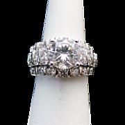 Sterling Silver 3.75 Carat Simulated Diamond Wedding Set