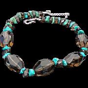 Vintage Bisbee Turquoise & Brown Quartz Necklace