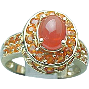 14K Yellow Gold Mexican Fire Opal Ring