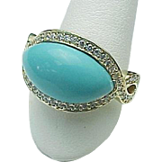 Sterling Silver/Vermeil Turquoise Topaz Swirl Ring