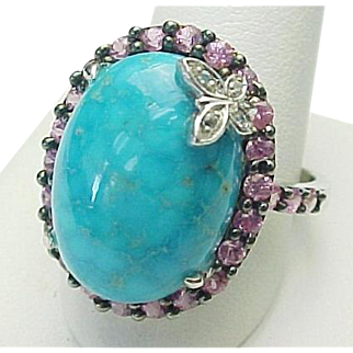Beautiful Turquoise, Pink Sapphire Butterfly Diamond Ring