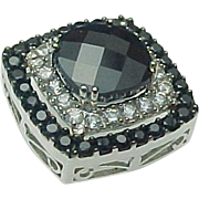 14K White Gold, 2.00 Carat Blue Cushion Cut Sapphire & White Sapphire Slide Pendant