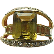 14K Yellow Gold 2.90 Carat Princess Cut Citrine & Topaz Ring