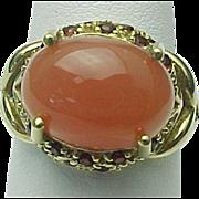10K Yellow Gold Peach Moonstone & Garnet Ring ~ Circa 1980's