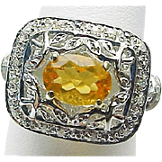 14K White Gold .90 Carat Mexican Fire Opal & Diamond Ring ~ Circa 1995