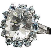 14 K White Gold Beryl, Aqua Marine and Diamond Ring