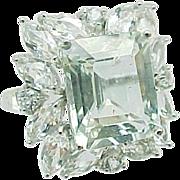 Exquisite 10K White Gold 8.00 Carat Emerald & Marquis White Topaz Ring~ Circa 1995